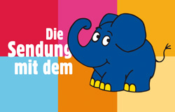 Schriftzug 'Die Sendung mit dem Elefanten'  vor sechs bunten Kästchen mit Elefant.; Rechte: WDR