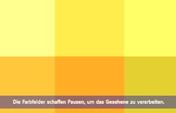 'Die Sendung mit dem Elefanten' mit Elternticker. Hier steht im Elternticker 'Die Farbfelder schaffen Pausen um das Gesehene zu verarbeiten'.; Rechte: WDR