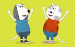 Zwei Hunde aus der 'Sendung mit dem Elefanten' freuen sich.; Rechte: WDR