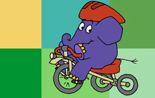 Der Elefant aus der 'Sendung mit dem Elefanten' mit einem Dreirad.; Rechte: WDR