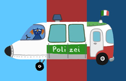 Bild aus einem Klappfahrzeugfilm aus der 'Sendung mit dem Elefanten'. Hier mit Flugzeug, Polizeiauto und Bus.; Rechte: WDR