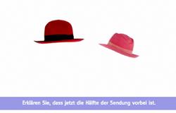 Zwei Hüte hängen in der Luft. Bild aus Halbzeitritual aus der 'Sendung mit dem Elefanten'.; Rechte: WDR