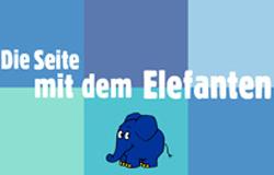 Schriftzug 'Die Seite mit dem Elefanten' vor sechs blauen Kästchen.; Rechte: WDR