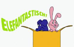 Elefant und Hase aus der 'Sendung mit dem Elefanten' springen aus einem Karton. Schriftzug 'ELEFANTASTISCH'.; Rechte: WDR