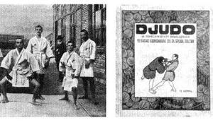 : Eines der ersten Judo-Lehrbücher in einer westlichen Sprache erschien 1907 in Budapest unter dem Titel ¿DJUDO¿. Hier werden die verschiedenen Arten des Stehens erklärt.; Rechte: Archiv des Judo Welt-Museum Berlin, Lothar Nest