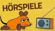 Bild: Die Maus liegt vor einem Radio. Text: Hörspiele; Rechte: WDR