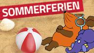 Text: Sommerferien. Bild: Maus und Elefant liegen im Sand und sonnen sich; Rechte: WDR