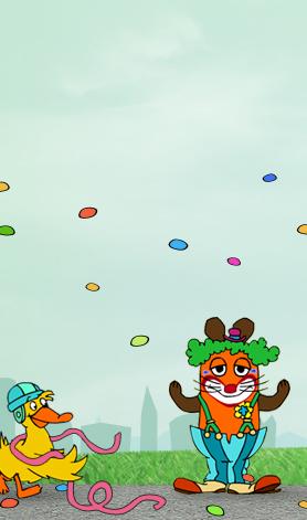 Die Maus ist als Clown verkleidet und feiert mit der Ente Karneval; Rechte: WDR