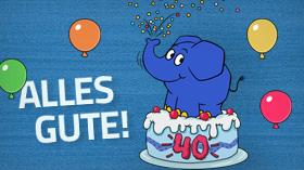 Text: Alles Gute! - Bild: Der Elefant sitzt auf einer Geburtstagstorte und versprüht Konfetti; Rechte: WDR