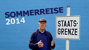 """Armin steht vor einem Schild auf dem """"Staatsgrenze"""" geschrieben steht.; Rechte:"""
