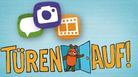 Türen-Auf-Logo mit 3 Icons für Videos, Kommentare und Fotos; Rechte: WDR