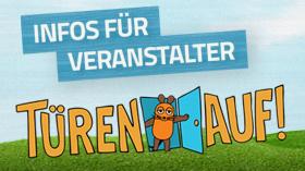 Text: Infos für Veranstalter. Bild: Türen Auf!-Logo; Rechte: WDR