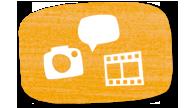 Icon zur MausWand: Filmstreifen, Fotokamera und Sprechblase; Rechte: WDR
