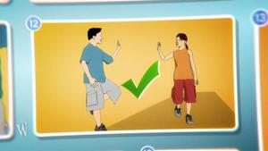 Grafik: Junge winkelt Bein an; Rechte: WDR