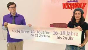 Ralph und Christine halten ein Band, darauf: Altersgrenze fürs Kino; Rechte: WDR