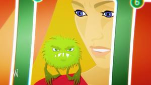 Gr�nes Monster sitzt auf Schulter von M�dchen; Rechte: WDR
