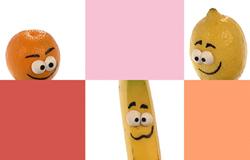 Bildbeispiel für sechs Kästchen aus der 'Sendung mit dem Elefanten'. Hier mit Orange, Banane und Zitrone.; Rechte: WDR