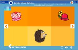 Bildbeispiel für das Sechs-Kästchen-Design auf der 'Seite mit dem Elefanten'. Hier sieht man das Spielmenü.; Rechte: WDR