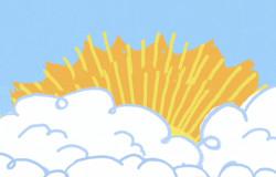 In einem Bilderrätsel der 'Sendung mit dem Elefanten' sind zuerst nur weiße Wolken und gelbe Zacken zu erkennen.; Rechte: WDR