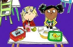 Lola und Lotta aus der 'Sendung mit dem Elefanten' beim Schulfrühstück. (Bildrechte: WDR)