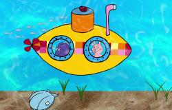 Elefant und Hase aus der 'Sendung mit dem Elefanten' sind Unterwasser in einem U-Boot und schauen aus den Fenstern heraus.; Rechte: WDR