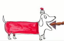 In der 'Sendung mit dem Elefanten' frisst ein Zeichentrickhund eine Wuerstchenkette. (Bildrechte: WDR)