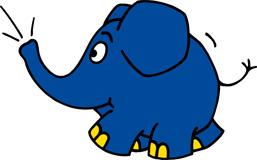 Elefant aus der 'Sendung mit dem Elefanten' läuft und trötet. (Bildrechte: WDR)