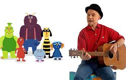 Robert Metcalf singt mit der Gitarre ein Lied. Lustige Monster begleiten ihn. (Bildrechte: WDR)