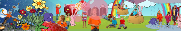 Elefant, Hase und viele Kinder in einer bunten Fantasiewelt.; Rechte: WDR