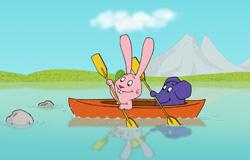 Elefant und Hase aus der 'Sendung mit dem Elefanten' im Kajak. (Bildrechte: WDR)