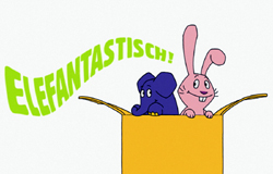 Elefant und Hase aus der 'Sendung mit dem Elefanten' springen aus einem Karton. Schriftzug 'ELEFANTASTISCH'. (Bildrechte: WDR)